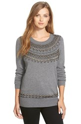 Petite Women's Halogen Embellished Crewneck Sweater
