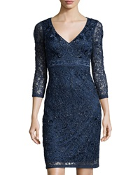 Sue Wong Embroidered 3 4 Sleeve Lace Dress Navy