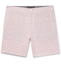 Club Monaco Baxter Slim Fit Striped Linen Shorts Red