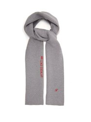 Raf Simons Logo Embroidered Wool Blend Scarf Grey