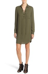 Wayf Women's Lace Up Shirtdress Olive