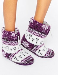 Bedroom Athletics Athletis Jessica Fairisle Slipper Boot Plum White Purple