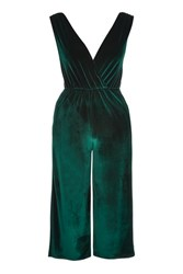 Oh My Love Plunge Velvet Jumpsuit By Green