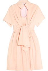 Delpozo Cape Effect Cotton Poplin Mini Dress Pastel Pink