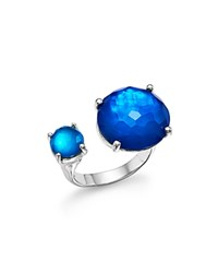 Ippolita Sterling Silver Rock Candy Wonderland Duo Stone Open Ring In Island Blue Silver