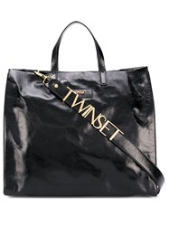 Twin Set Logo Patch Cracked Effect Tote 60