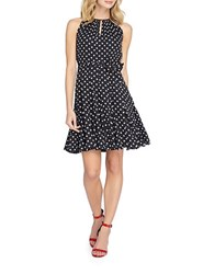Tahari By Arthur S. Levine Petite Petite Polka Dot Keyhole Dress Black White