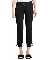 Blanc Noir Lace Up Drawstring Jogger Pants Black