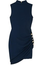 Balmain Button Embellished Jersey Mini Dress Navy