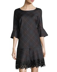 Laundry By Shelli Segal Lace Trim Plaid Knit Dress Multi