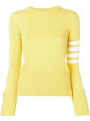 Thom Browne Classic 4 Bar Cashmere Pullover Yellow
