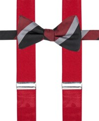 Alfani Men's Mars Stripe Bow Tie And Suspender Set Only At Macy's Red