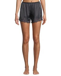 Vivis Kira Lace Trim Silk Tap Shorts Dark Gray