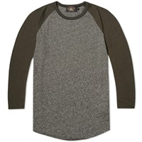 Rrl Raglan Baseball Tee Black And Castor Grey