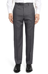 Santorelli Men's Flat Front Twill Wool Trousers Charcoal