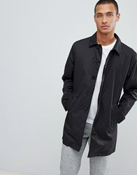 Selected Homme Padded Trench Coat With Organic Cotton Black