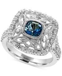 Effy London Blue Topaz 1 1 4 Ct. T.W. And White Sapphire 3 4 Ct. T.W. Statement Ring In Sterling Silver