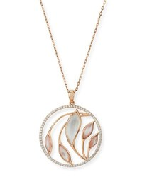 Frederic Sage Medium Venus Garden Mother Of Pearl Pendant Necklace With Diamonds In 18K Pink Gold