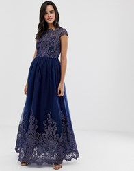 Chi Chi London Premium Lace Embroidered Maxi Prom Dress With Bardot Neck In Navy