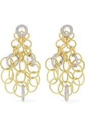 Buccellati Hawaii 18 Karat Yellow And White Gold Diamond Earrings