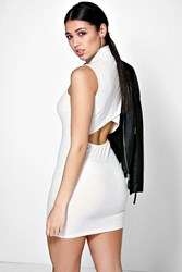 Boohoo High Neck Cut Out Bodycon Dress Oatmeal