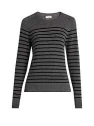 Saint Laurent Distressed Striped Cashmere Sweater Grey