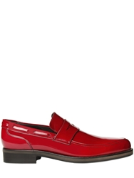 Jimmy Choo Brushed Leather Pointed Penny Loafers Red