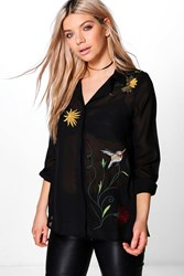 Boohoo Boutique Embroidered Front And Back Woven Shirt Black