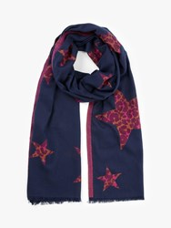 John Lewis Collection Weekend By Animal Star Jacquard Scarf Navy Mix