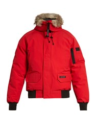 Canada Goose Chilliwack Fur Trimmed Down Bomber Jacket Red