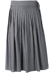 Vince Striped Pleated Skirt Women Cotton M Grey