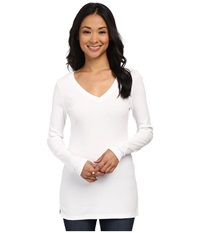 Three Dots Long Sleeve Deep V Tunic White Women's Long Sleeve Pullover