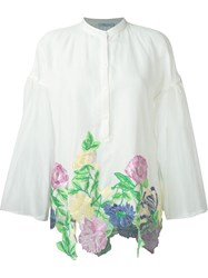 Blumarine Wide Sleeve Floral Embroidered Applique Blouse White