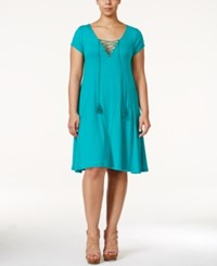 Love Squared Plus Size Short Sleeve Tassle Tie A Line Dress Teal