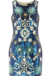 Needle And Thread Porcelain Sequined Mini Dress Blue