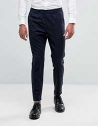Selected Homme Cropped Tapered Trouser With Elasticated Waist In Check Navy Blazer