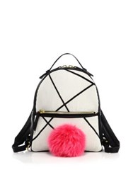 Les Petits Joueurs Fox Fur Pom Pom Leather Backpack White Pink