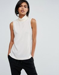French Connection Poly Plains Sleeveless Roll Neck Top Classic Cream
