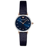 Emporio Armani Ar1989 Women's Crystal Leather Strap Watch Navy