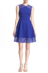 Women's Ted Baker London 'Eleese' Mesh Stripe Fit And Flare Dress