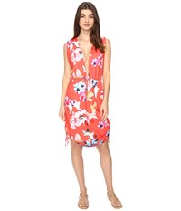 6 Shore Road Travelers Cover Up Red Colombia Floral Women's Swimwear Coral