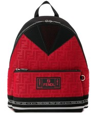 Fendi Roma Perforated Backpack Red