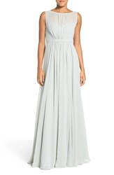 Jenny Yoo Women's 'Vivienne' Pleated Chiffon Gown Morning Mist