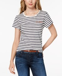 Maison Jules Embroidered Au Revoir T Shirt Created For Macy's Blue Notte Combo