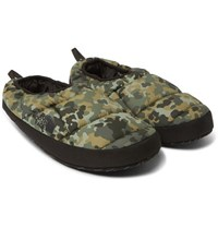 The North Face Camouflage Print Quilted Ripstop Primaloft Slippers Army Green
