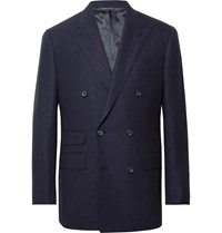 Thom Sweeney Navy Slim Fit Double Breasted Wool Hopsack Blazer Blue