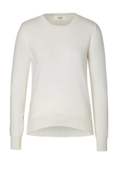 Vanessa Bruno Athe Merino Blend Pullover With Lace Overlay Beige