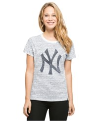 '47 Brand Women's New York Yankees Sparkle Stripe T Shirt Navy White