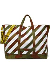 Off White Printed Canvas Tote Army Green