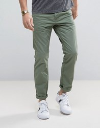 Esprit 5 Pocket Casual Trousers In Khaki Olive Green